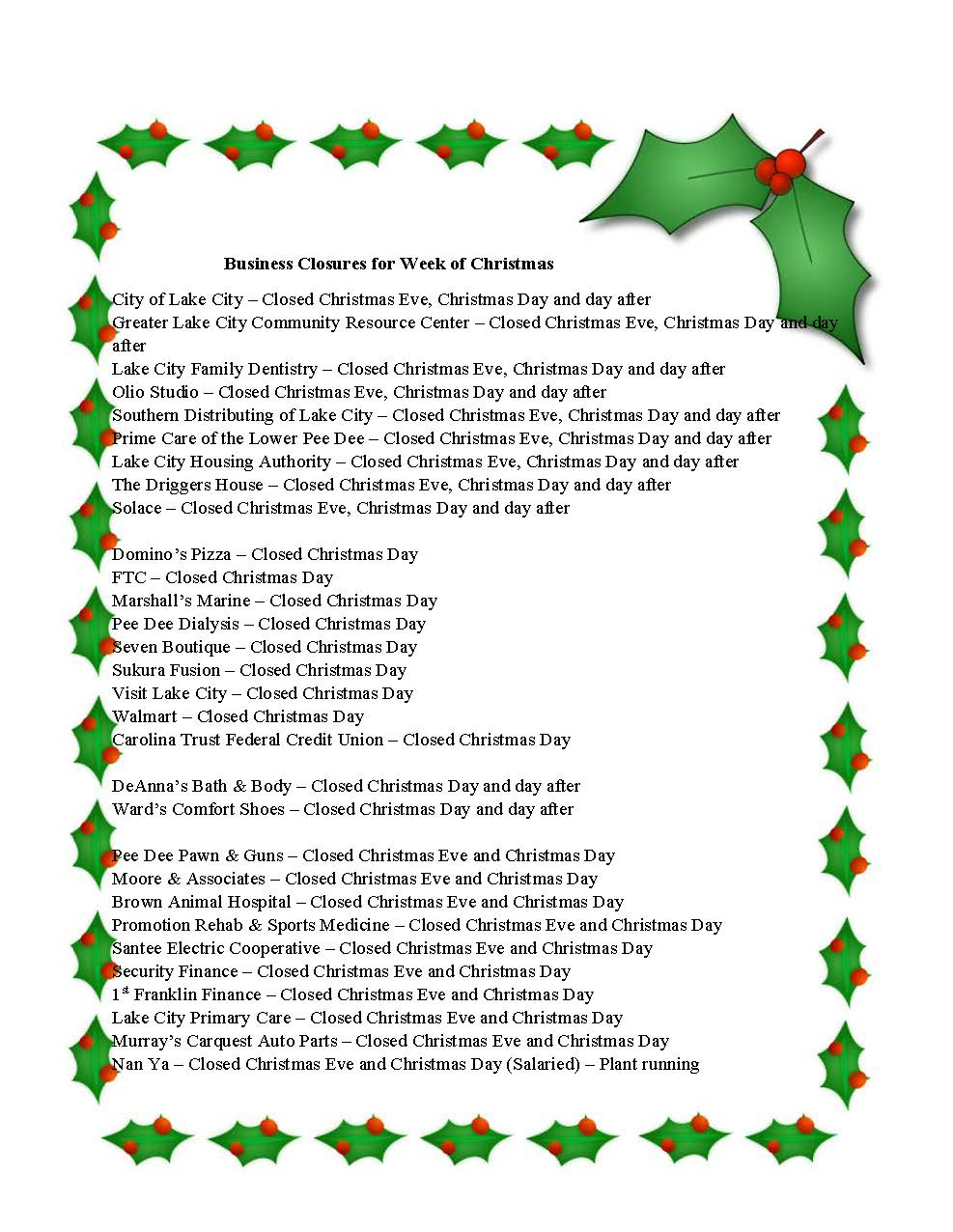 Business Closures for Week of Christmas   12.20.2018_Page_1